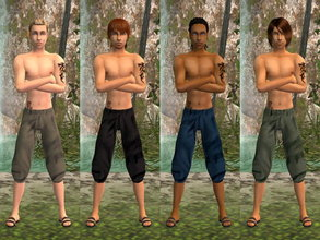 Sims 2 — Summer Boy Shirtless Set by zaligelover2 — For AM. Tattoos included.