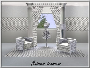 Sims 3 — Chicken Wire_marcorse by marcorse — Geometric pattern: chicken wire design in black and white