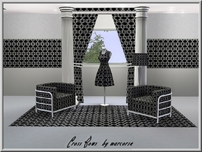 Sims 3 — Cross Bows_marcorse by marcorse — Geometric pattern: geometric design on black - white ribbons and bows