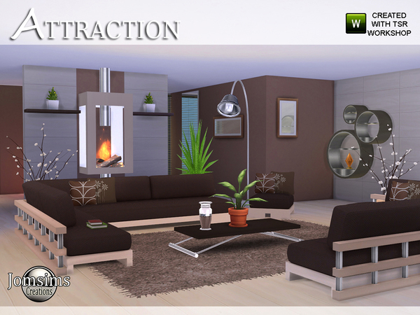 Jomsims 39 attraction living room for Sims 4 living room ideas