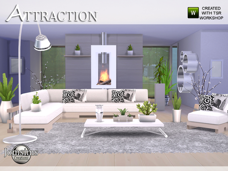 Jomsims 39 attraction living room for Modern living room sims 4
