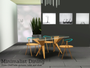 Sims 3 — Minimalist Dining by Angela — Minimalist Dining. This small set contains 5 items, 3 non CASTable pictures, a
