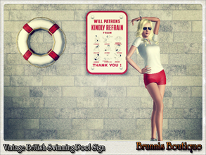 Sims 3 — Vintage British Pool Sign by Brunnis-2 — British swimming pool sign asking patrons to refrain from running,