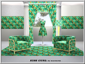 Sims 3 — Kiss Curl_marcorse by marcorse — Geometric pattern: stylised 'kiss curls' in a diagonal design in green, orange