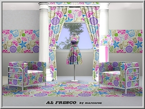 Sims 3 — Al Fresco_marcorse by marcorse — Themed pattern containing symbols of al fresco dining.on a white ground.