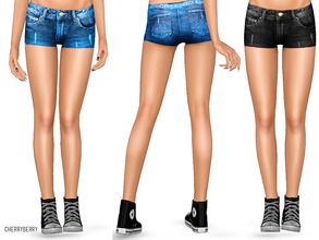 Sims 3 — Denim shorts for teens by CherryBerrySim — Detailed denim shorts for teen girls to wear during spring season.