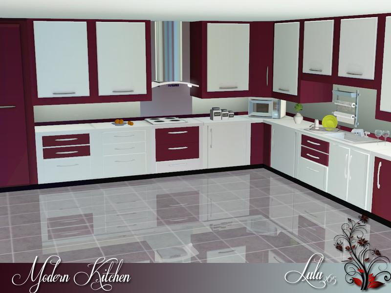 Lulu265 39 s modern kitchen for Modern kitchen sims 3