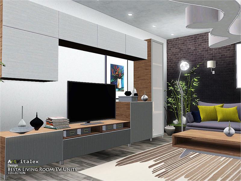 Artvitalex 39 s besta living room tv units for Modern living room sims 4