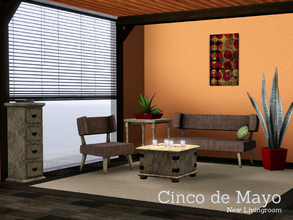 Sims 3 — Cinco de Mayo by Angela — Cinco de mayo Livingroomset, This set contains a loveseat, chair, coffeetable,