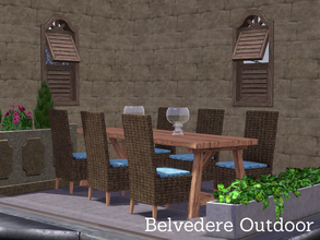Sims 3 — Belvedere Outdoor by Angela — Belvedere Outdoor, a small set containing a wooden table that seats up to 8 sims