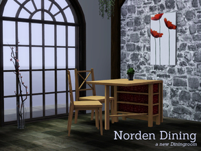 Sims 3 — Norden Dining by Angela — Norden Dining, a small diningset containing a table, chair and picture.