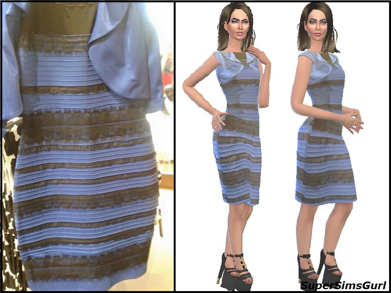 SuperSimsGurl s Blue and Black or White and Gold Dress e359987e9