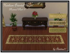 Sims 4 — Heirloom Oriental Rugs (Runner)(Part 1) by Christina51 — Set of Oriental rugs. Size runner, 1x4. Four color