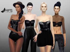Sims 4 — MFS Total Black Set by MissFortune — A set of elegant black clothing that you can wear on every occasion :) It