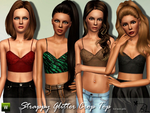 Sims 3 — Teen Strappy Glitter Crop Top by Black_Lily — Strappy Glitter Crop Top for teen girls Everyday Recolorable