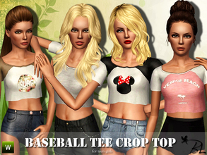 Sims 3 — Teen Baseball Tee Crop Top by Black_Lily — Baseball Tee Crop Top for teen girls Everyday/Sleepwear/Athletic Mesh