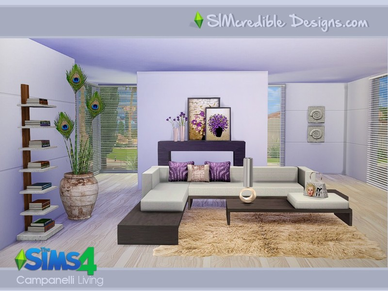 Simcredible 39 s campanelli for Living room designs sims 4