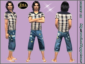 Sims 2 — ASA_Dress_337_AM by Gribko_Sveta — Jeans bridges with a checkered vest for men TS2