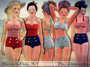 Sims 3 — Beach Set No 1 by Lutetia — This set contains a vintage inspired bikini and swimsuit ~ Works for female teens