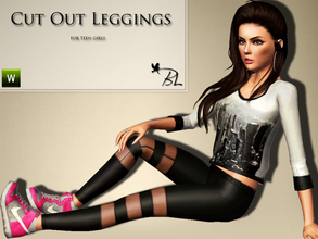 Sims 3 — Teen Cut Out Leggings by Black_Lily — Cut Out Leggings for teen girls. Everyday/Athletic Recolorable
