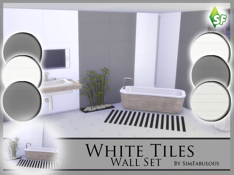 SimFabulous\' White Tiles Wall Set