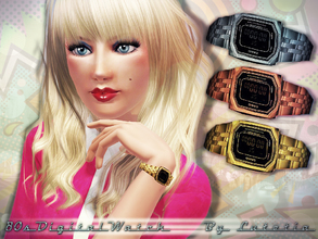 Sims 3 — 80s Casio Digital Watch by Lutetia — This set contains a vintage inspired digital watch in the style of the 80s