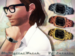 Sims 3 — 80s Casio Digital Watch - Male by Lutetia — A vintage inspired digital watch in the style of the 80s ~ Works for