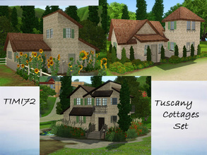 Sims 3 — Tuscany Cottages Set by timi722 — Small cottages in tuscan style. Created for a mediterranean world. NO CC!
