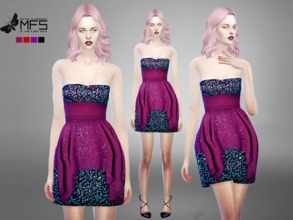 Sims 4 — MFS Seraphine Dress by MissFortune — A elegant mini dress with glitters! 4 colors available, HQ Texture,
