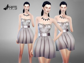 Sims 4 — MFS Pearl Dress by MissFortune — A formal mini dress in grey/white tones, embellished corset and lucid belt.