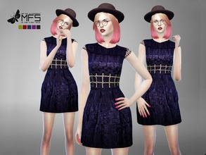 Sims 4 — MFS Maxine Dress by MissFortune — A cute sleeveless dress with lace details. Standalone, HQ Texture, 5 colors,