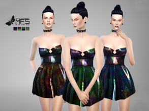 Sims 4 — MFS Metallic Dress by MissFortune — Something edgy and fashionable for your sims. Standalone, HQ Texture, Custom
