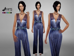 Sims 4 — MFS Crystal Jumper by MissFortune — Glittered elegant jumper with a embellished belt. Standalone, HQ Texture,