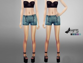Sims 4 — MFS Chloe Shorts by MissFortune — Simple jeans shorts with two zippers on the front. Standalone, HQ Texture,