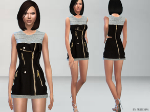 Sims 4 — Biker Dress by Puresim — A casual biker dress. -Its a new mesh by me, all lods. -Standalone dress with custom