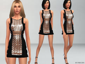 Sims 4 — Glamorous Dress by Puresim — A shinny metallic dress. It's a new mesh by me, all lods. Standalone item with