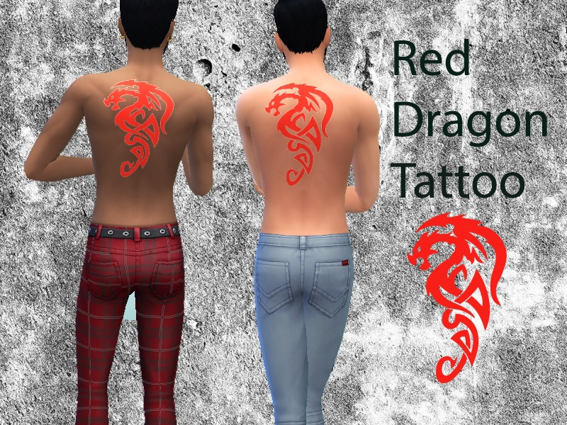 Twosister42's Red Dragon Tattoo Male
