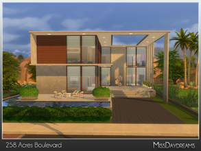 Sims 4 — 258 Acres Boulevard by MissDaydreams — Big contemporary residence with 2 living areas, 2 bedrooms, 2 bathrooms
