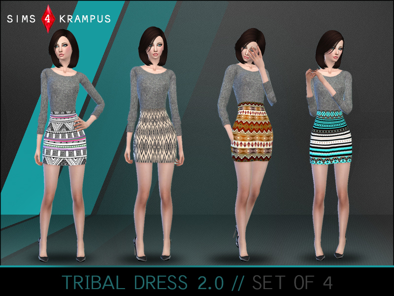 501be2fc627 SIms4Krampus  Aztec Sweater Dress set of 4