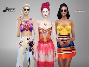 Sims 4 — MFS Tropical Collection by MissFortune — A super colorful and playful collection that includes top, mini dress,