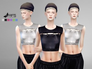Sims 4 — MFS Tara Crop Top by MissFortune — Sporty crop top with pins, lucid effect. Standalone, HQ texture, custom