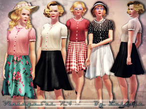Sims 3 — Vintage Set No 4 by Lutetia — This set contains a vintage inspired blouse and pleated skirt ~ Works for female
