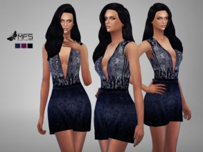 Sims 4 — MFS Beatrice Romper by MissFortune — A elegant romper with lace bottom and glittered top. Standalone, HQ