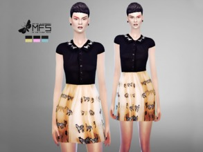 Sims 4 — MFS Zebra Dress by MissFortune — A cute collar dress in 3 different colors. Standalone, hq texture, custom
