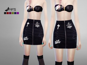 Sims 4 — MFS Riot Skirt by MissFortune — A high waisted skirt with a zipper on both sides. Standalone, Hq texture, custom