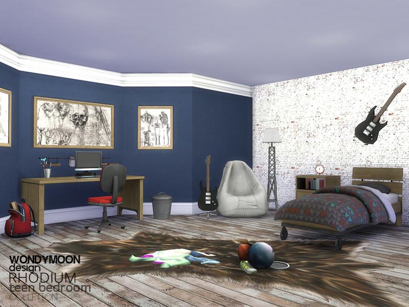 Wondymoon 39 s rhodium teen bedroom for Bedroom designs sims 4