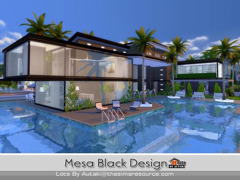 Autaki 39 s mesa black design for Pool designs sims 4