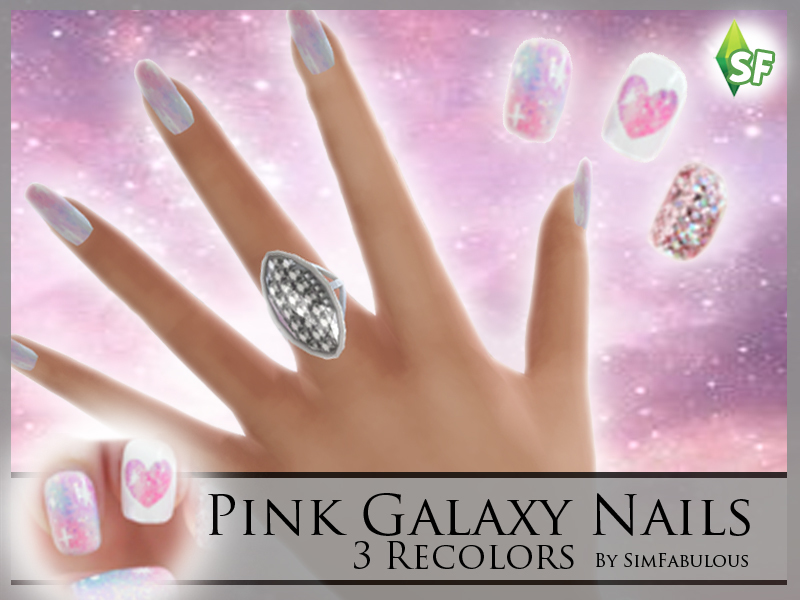 SimFabulous\' Pink Galaxy Nails