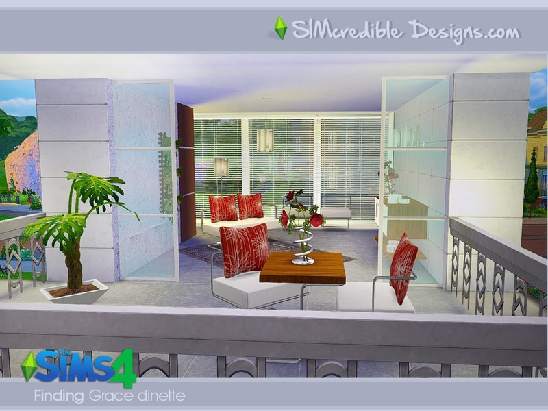 Simcredible 39 s finding grace dinette for Sims 4 balcony