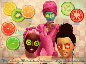 Sims 3 — Beauty Mask Set - Slices by Lutetia — A pair of fruit / vegetable slices for the beauty mask ~ Works for female